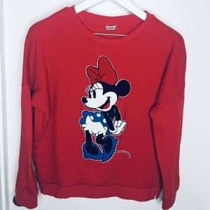 Disney Minnie Mouse Embroidered Sweatshirt Sweater